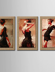 Oil Painting Modern Abstract People Set of 3 Hand Painted Natural linen with Stretched Frame