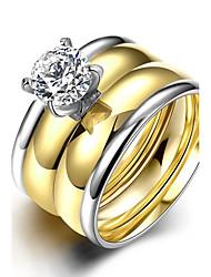 Fashion Generous Unsex's  White Zircon Gold-Plated Titanium Steel Couple Rings(Golden)(1Set)