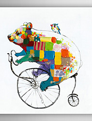 Hand Painted Oil Painting Animal Bear to Ride a Bicycle with Stretched Frame