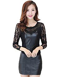 Women's Patchwork Black Blouse,Round Neck Long Sleeve