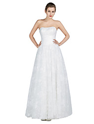 Sheath / Column Wedding Dress Floor-length Strapless Lace / Satin / Tulle with Beading / Crystal / Lace
