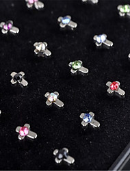 24PCS Cross  316L Stainless Steel Nose Rings & Studs Nose Ear Piercing Ring Body Jewelry (1 Box)