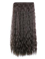 crépus brun foncé synthétique bouclés clip maïs chaud morceau de cheveux cinq clips floconneux morceau perruque
