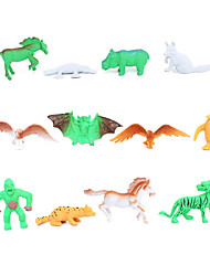 12 Solid Wildlife Eagle Platypus Horse Penguin Bat Orangutan Model Children'S Toys Textbooks
