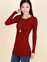 Damen Pullover - Einfach Baumwolle Mittel Langarm