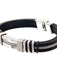 Bracelet Bracelets Rigides Silicone / Acier au titane Forme de Cercle Mode Quotidien / Décontracté Bijoux Cadeau Noir,1pc
