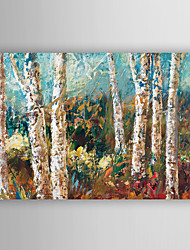 Hand Painted Oil Painting Landscape Abstract Blue Birch with Stretched Frame 7 Wall Arts®