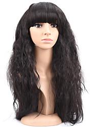 естественный длинный черный цвет популярный естественная волна синтетический парик для женщин
