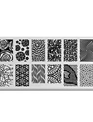bluezoo retângulo arte impressão prego stamping (c-026)