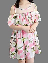 Girl's Black / Pink / Yellow Dress,Floral Polyester Summer