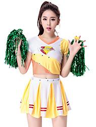 Fantasias para Cheerleader Roupa Mulheres Actuação Algodão / Poliéster Plissado 2 Peças Manga Curta Alto Saia / Top