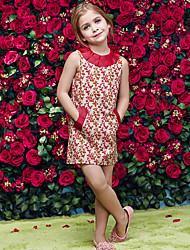 Vestido Chica de-Formal-Estampado-Algodón / Poliéster-Verano / Primavera / Otoño-Rojo