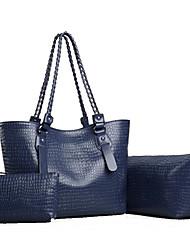 Women PU Casual / Office & Career / Shopping Tote / Bag Sets Blue / Red / Black / Khaki