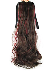 Length Red Wine Wig Ponytail Curly 55CM Synthetic Deep Wave High Temperature Wire Color Burgundy