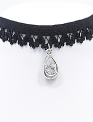Black Lace Choker Necklace Jewelry with Drop Pendant