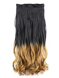 parrucca nera e marrone lunghezza 60 centimetri gradiente sintetico capelli cinque carte capelli diritti lunghi (colore blackt27)