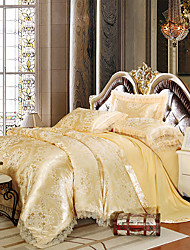 Yellow Queen King Size Bedding Set Luxury Silk Cotton Blend Lace Duvet Cover Sets Jacquard Pattern