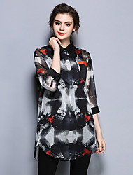 Women's Work Simple Summer Shirt,Print Shirt Collar Long Sleeve Black Silk Thin