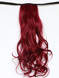Red Length 50CM The New Belt Type Long Curly Wig Horsetail Hair fake Ponytail(Color 118C)
