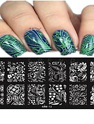 1pcs 12 * 6cm unha arte carimbar placa bela flor arco colorido imagem ferramentas de design de unhas les cool11-20