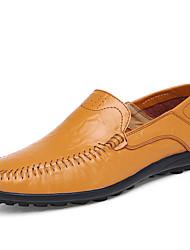 Черный Коричневый Желтый-Мужской-Для прогулок Для офиса Повседневный-Кожа-На плоской подошве-Светодиодные подошвы Удобная обувь-Мокасины