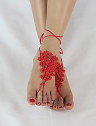 das mulheres flores de crochê sandálias tornozelo tornozeleira pulseira de sandálias descalças