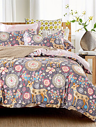 4PC Duvet Cover Set  Fresh Style Cotton Pattern Queen King Size Elk