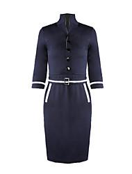 YIZOO Women's Vintage Blue/Gray/Red Micro-elastic ¾ Sleeve Midi Dress (Roman Knit)