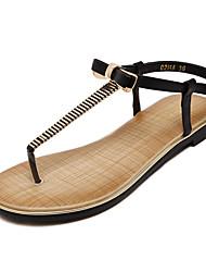 Calçados Femininos-Sandálias-Plataforma / Chanel-Rasteiro-Preto / Amêndoa-Courino-Social