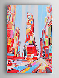Hand Painted Oil Painting Landscape The Colorful City with Stretched Frame