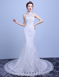 Trumpet / Mermaid Wedding Dress Court Train Halter Lace / Satin / Tulle with Beading / Lace