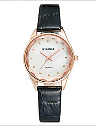 SYNOKE Women's Fashion Watch Quartz Japanese Quartz Casual Watch Leather Band Black Red