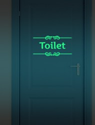 Hot  Diy Glowing Night Lighting Luminous Fluorescent Bathroom Door Wall Sticker Toilet Wall Sticker Bath Decoration