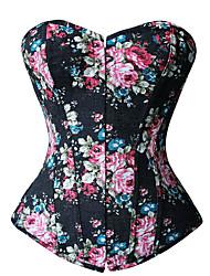 Damen Brustkorsett Nachtwäsche,Sexy / Druck Blumen-Denim Jeans / Polyester Blau / Schwarz Damen