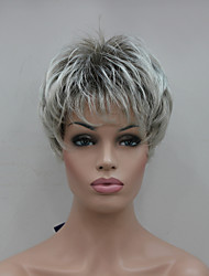 New Light Gray Tip With Brown Mix Short Straight Women's Synthetic Wig