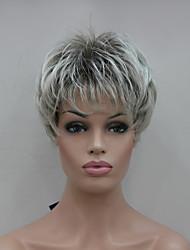 nueva punta de color gris claro con peluca sintética mezcla marrón cortos de las mujeres rectas
