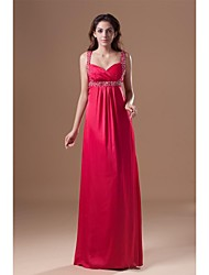 Formal Evening Dress - Elegant Sheath / Column Straps Floor-length Chiffon with Beading Side Draping