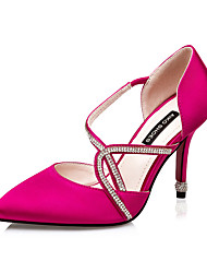 Women's Shoes Silk Stiletto Heel Heels Heels Casual Black / Pink / Red / Silver / Gray