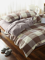 Brown plaid Washed Cotton Bedding Sets Queen King Size Bedlinens 4pcs Duvet Cover Set