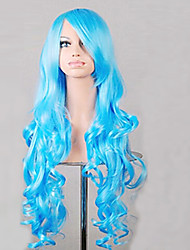 Popular Anime Blue Fashion Curly Wig