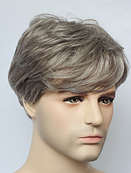 Capless Short Grey Straight Synthetic Hair Wig For Mens fashion Mens Wig