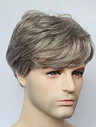 capless courte grise droite perruque de cheveux synthétiques pour la mode mens mens perruque