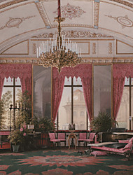 JAMMORY Art Deco Wallpaper Retro Wall Covering,Canvas Large Mural  Red Castle Interior