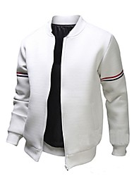Men's Long Sleeve Casual Jacket,Polyester Solid Black / White