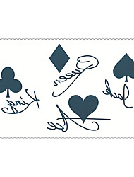Fashion Temporary Tattoos Poker Sexy Body Art Waterproof Tattoo Stickers 5PCS (Size: 2.36'' by 4.13'')