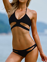 Women's Sexy Black Bandage Halter Beach Bikinis Set