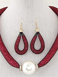 Bijoux Colliers décoratifs / Boucles d'oreille Collier / Boucles d'oreilles A la Mode Soirée / Quotidien 1set Femme Café / RougeCadeaux