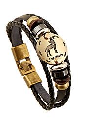 leather Charm BraceletsUnisex Alloy Leather Handcrafted Vintage Strand Bracelets