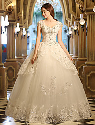 A-line Wedding Dress Floor-length V-neck Tulle with Appliques / Beading / Crystal / Pearl / Ruffle