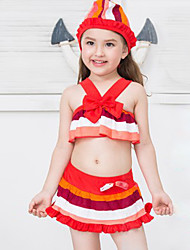 Girl's Summer Rainbow Stripes Lace Skirt Printing Swimming Swimming Cap  Bathing Suit